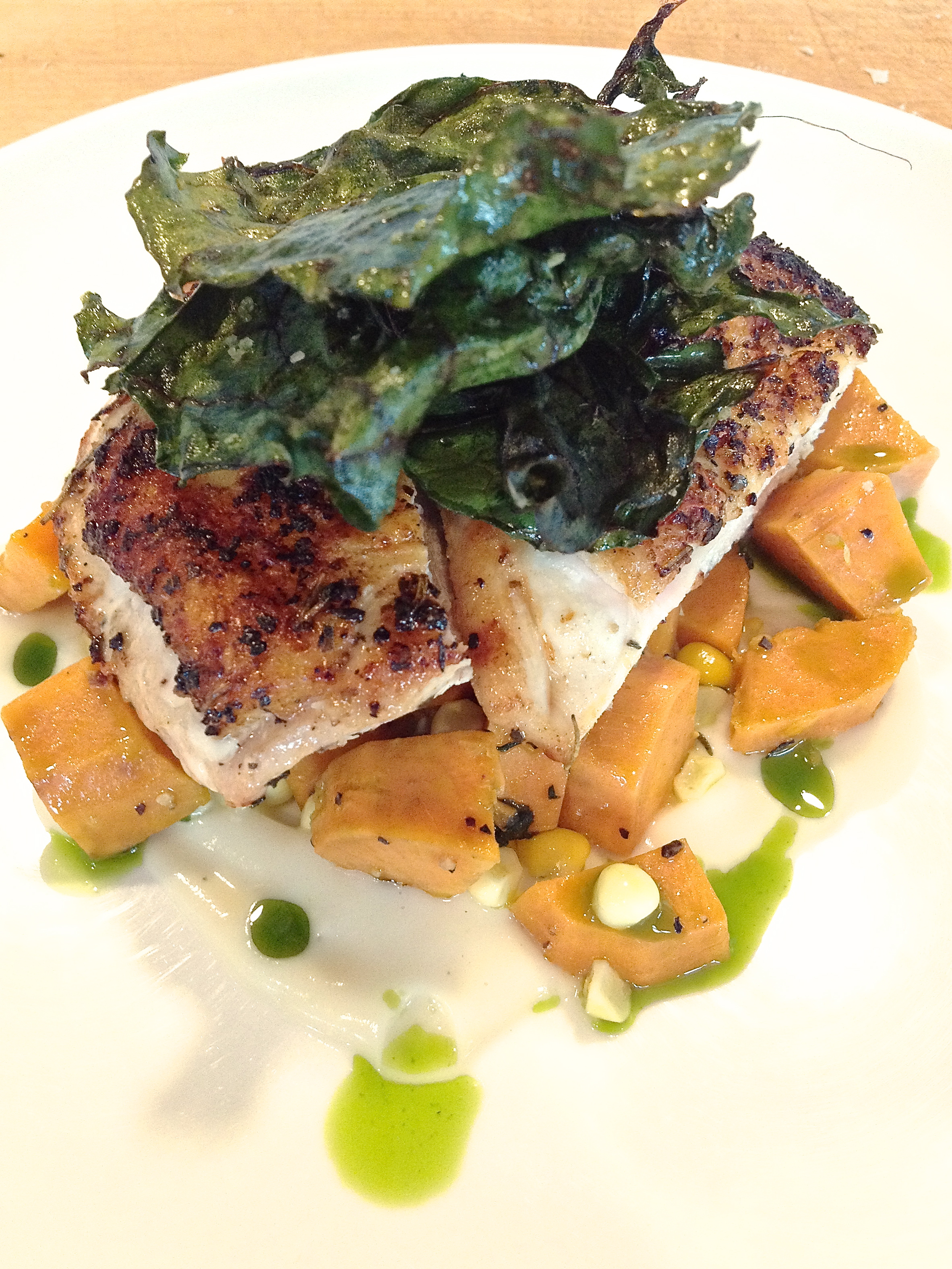 Pan-Roasted Chicken with Sweet Potatoes & Crispy Chard | OMNIVOROUS