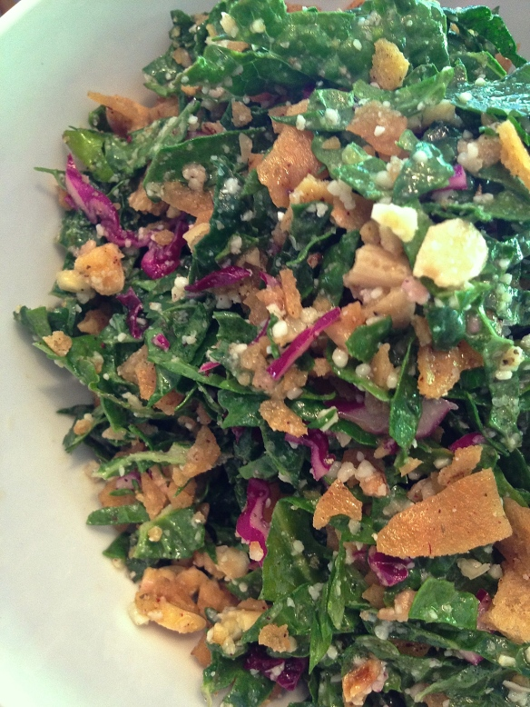 Super-healthy krunchy kale salad is good for the body and easy on the eyes.